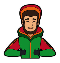 portrait young man wearing winter clothes vector image