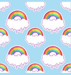 rainbows and clouds seamless pattern trendy vector image