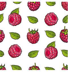 Raspberry seamless pattern with fresh ripe berries vector