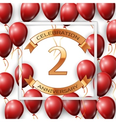 Realistic red balloons with ribbon in centre vector image