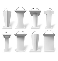 realistic speech tribune debate tribune podiums vector image