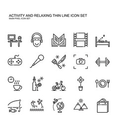 Recreation activity and relax thin line icon vector