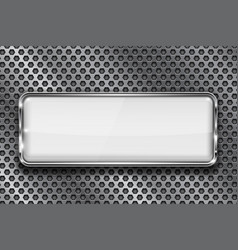 Rectangle white 3d button with chrome frame on vector