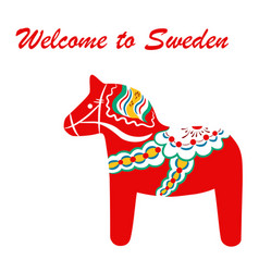 Red dala horse - national symbol sweden from vector