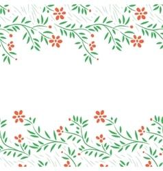 Red flowers horizontal frame seamless border vector