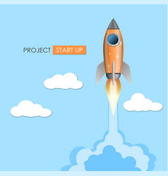 rocket ship launch projrct start up concept vector image
