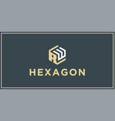 Rw hexagon logo design inspiration vector
