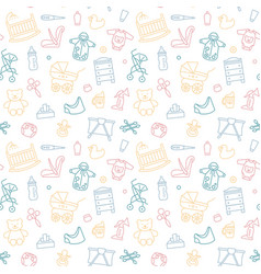 Seamless background with linear baby care symbols vector