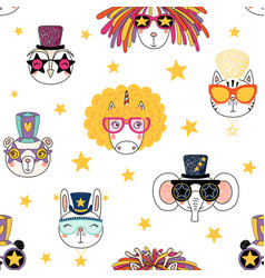 Seamless pattern with cute animal faces vector