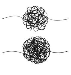 set complicated black line way hand drawn vector image