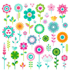 Set flower icons vector