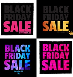Set of 4 Posters Typography Black Friday Sale vector image
