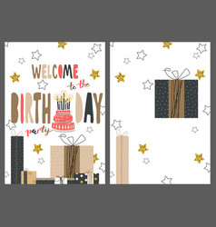 set of happy birthday greeting hand drawn modern vector image