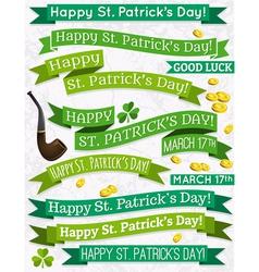 Set of ribbon for St Patricks Day vector