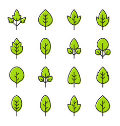 Set simple leaf icons vector