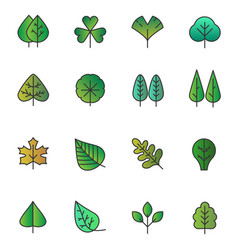 Simple tree leaves icons isolated green vector