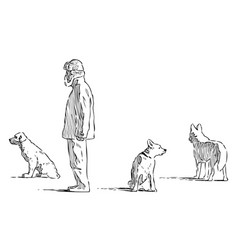 Sketch citizen with his dogs going for a stroll vector