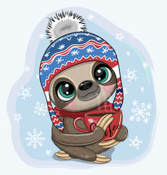 sloth in a hat with a cup coffee vector image