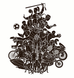 sport mix sport players cartoon graphic vector image