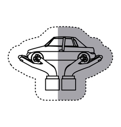 Sticker contour of hands holding a car vector