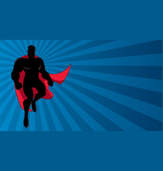 superhero flying ray light silhouette vector image