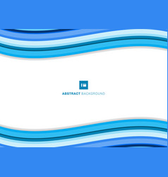 template simple blue wave lines minimal curve vector image