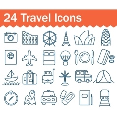 Thin line travel icons set Outline icon vector