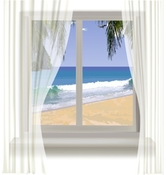 tropical beach through the window vector image