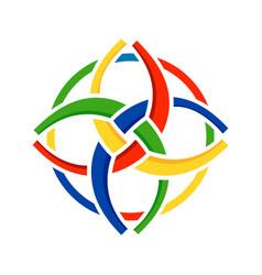 Unity in diversity circular symbol design vector