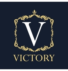 Victory with ornament design vector