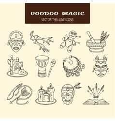 Voodoo African and American magic line vector