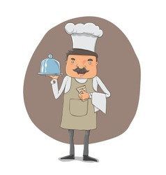 Waiter with a tray and notebook vector