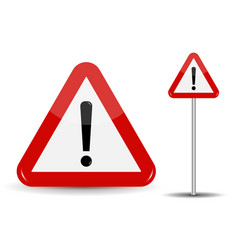 Warning road sign red triangle with exclamation vector