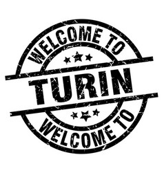 Welcome to turin black stamp vector