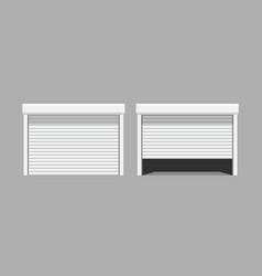 white garage doors on grey background vector image