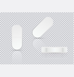 white oval pills on transparent background vector image