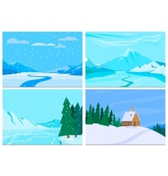 Winter background with pile of snow and landscape vector image