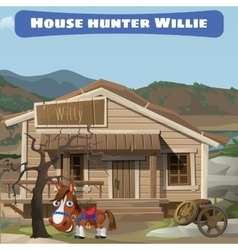 Wooden old house of the hunter and his horse vector