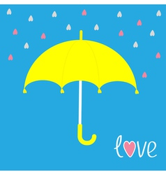 Yellow umbrella Rain in shape of hearts Love card vector