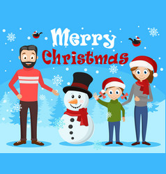 young happy family sculpts a snowman christmas vector image