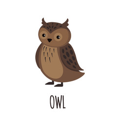 cute owl in flat style vector image