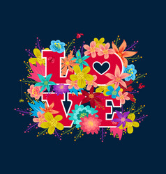 love abd flowers vector image vector image