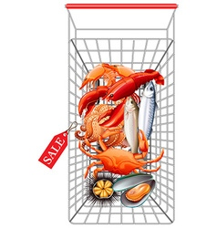 Various seafood in shopping cart vector