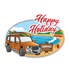 cartoon suv take a vacation on the beach vector image
