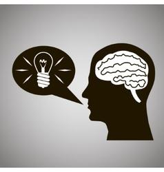 Headmind Brain Head Silhouette Generate Lamp Idea vector image