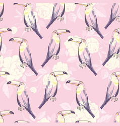 seamless pattern with hand drawn toucan on white vector image
