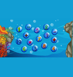 counting numbers with underwater background vector image vector image