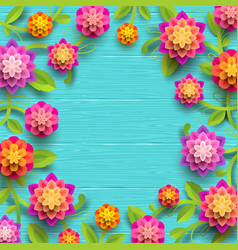 Flowers on a blue wooden plank background vector