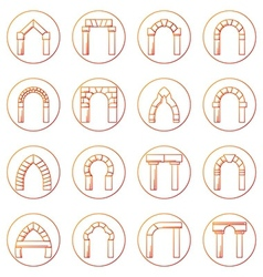 Sketch icons collection of different types arch vector image vector image