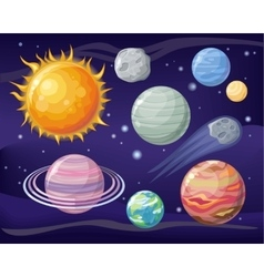 Space with Planet Sun and Star Design Flat vector image vector image